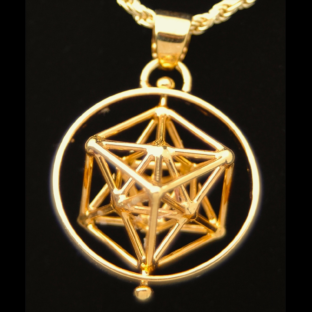 Iconnect2all metatrons cube gold plated pendant w ring sacred geometry jewelry aloadofball Gallery